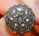 Silver aspect buttons with flowers 18 mm