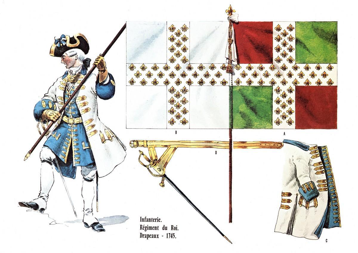 LE PLUMET PLANCHE AR35 INFANTERIE REGIMENT ROYAL ECOSSAIS DRAPEAUX EN 1745 ET