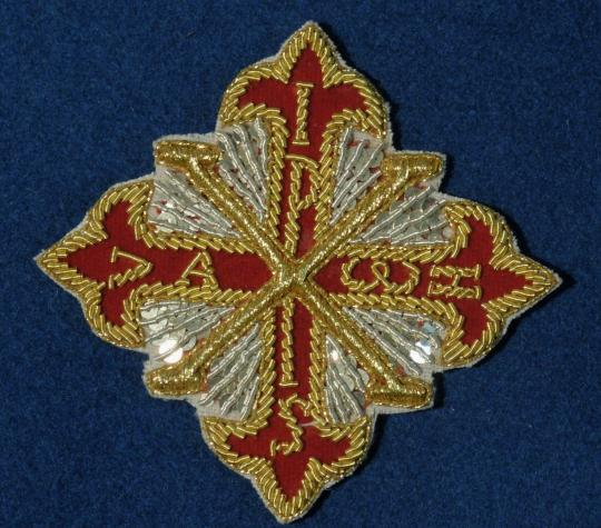 Embroidered decoration of constantinian order of saint georges for cloak: 120 x 120 mm