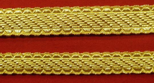 Officers braid (except for guard), gold or silver, 15, 18, 23 mm. Same aspect on 2 faces