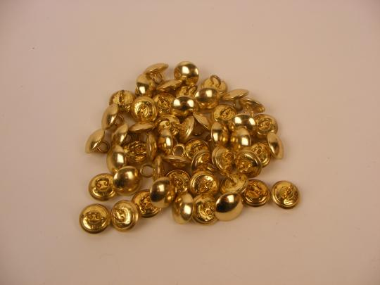 Buttons 15 mm diam. 1/2 curved, brass or silver aspect. Price by one.