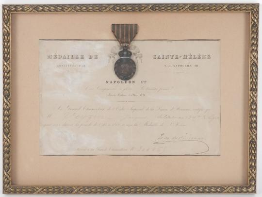 Medal of Saint Helena, original decoration with diploma and frame