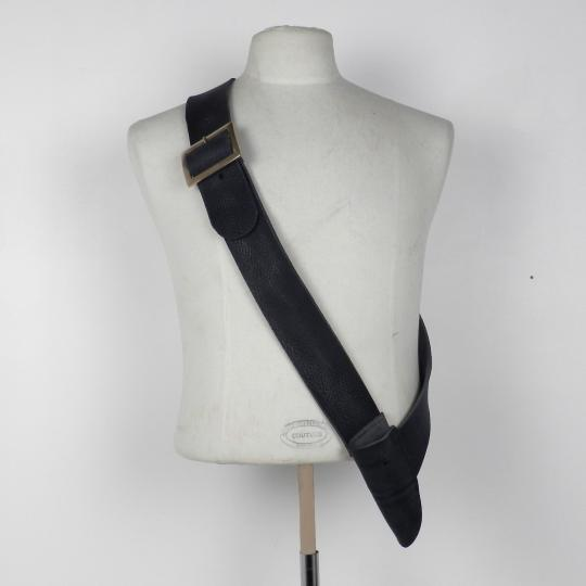 Leather baldric, bronze buckle for right handed. LIMITED SERIE IN THICK BLACK LEATHER