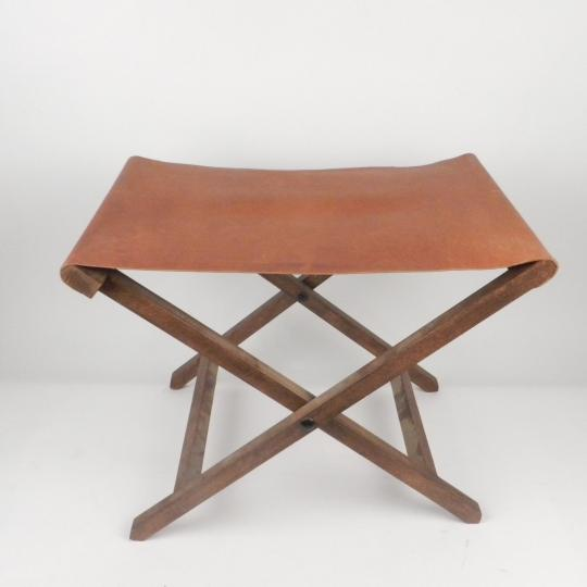 Folding chair of the Emperor, wood and leather