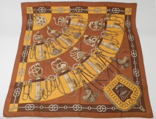 Hermes scarf in silk, brown, WITH EMPIRE SABRES