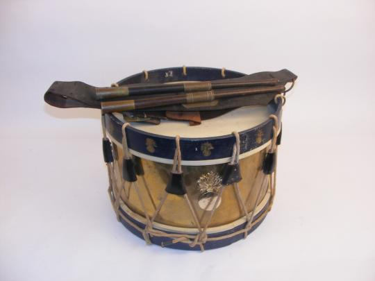 Old drum, with grenades and old baldric + sticks.