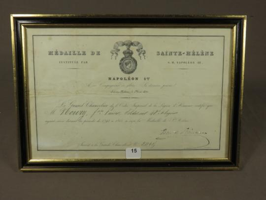 Saint Helena, médal + diploma+ letter, in showcases.