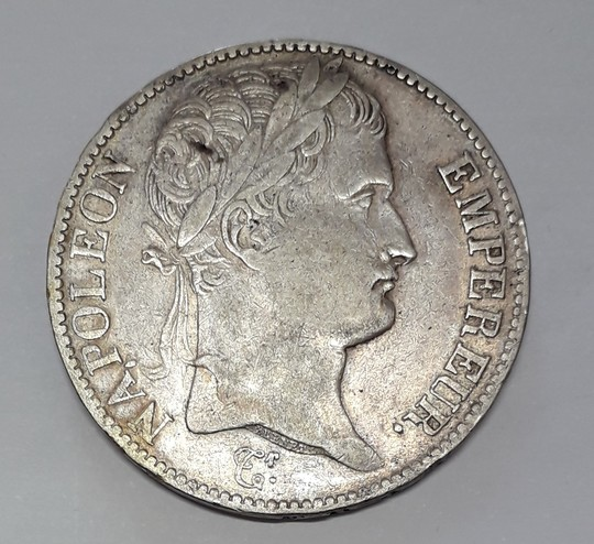 Napoleon 1809 laureled head Empire Français 5 francs, silver coin