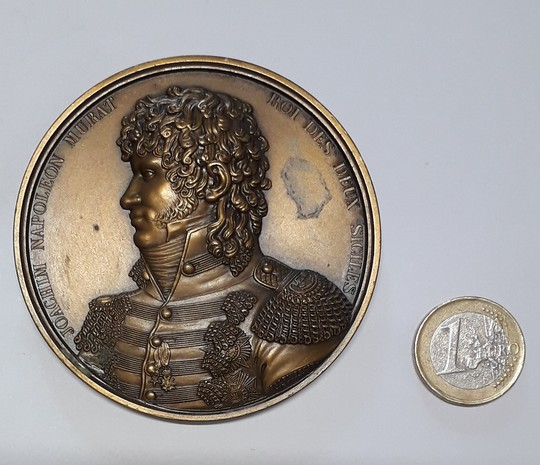 Joachim Murat, king of Napoli and 2 Sicilias, 1815. Bronze medal, 75 mm