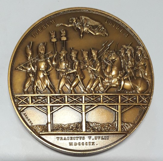 Battle of Essling, crossing of Danube, 1803. Bronze medal, 41 mm