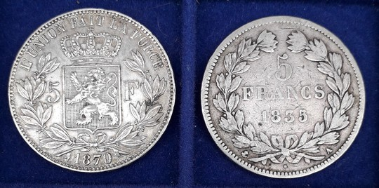 2 coins 5 fr in silver: France 1835 and Belgium 1870