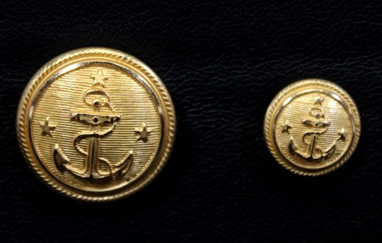 Gilded buttons with anchor and 3 stars, 14 and 23 mm